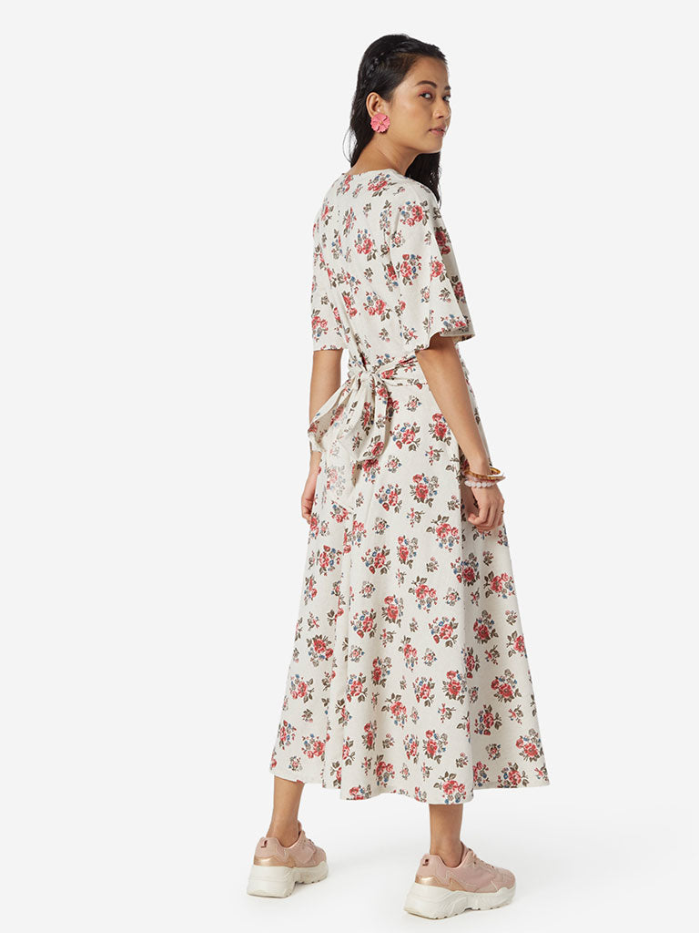 Bombay Paisley Off White Fit-And-Flare Dress