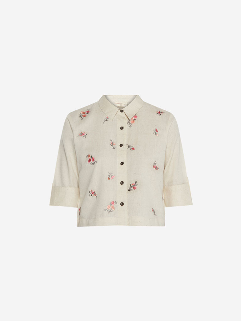 Bombay Paisley Off White Floral Embroidered Top