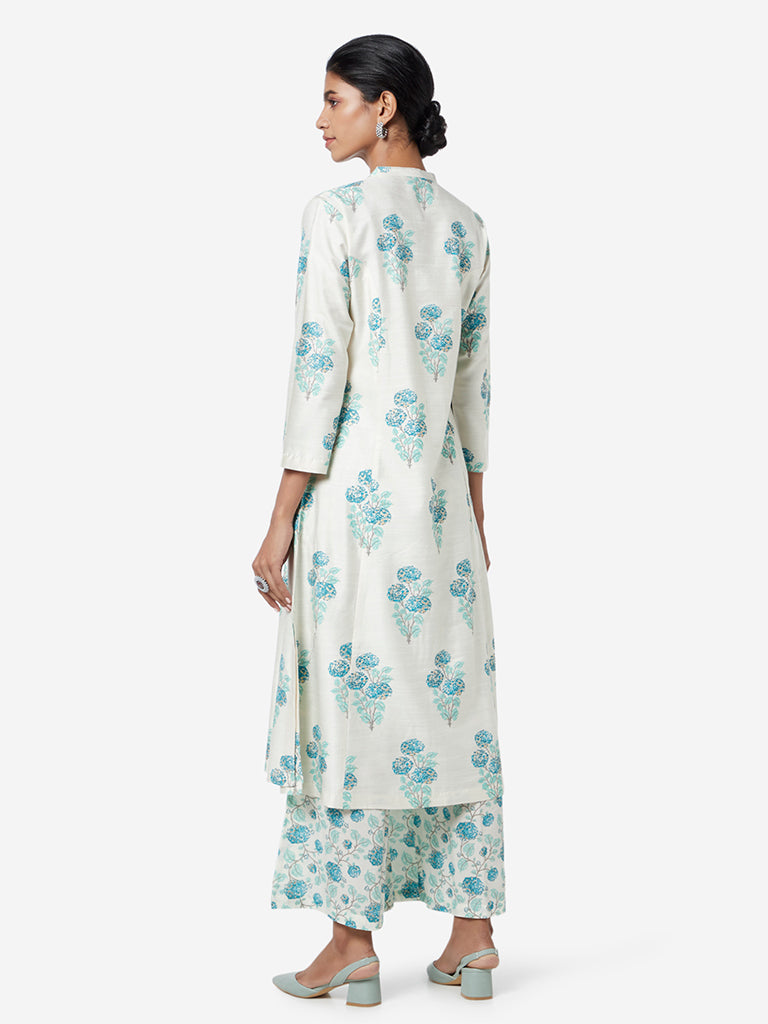 Zuba Off White Marigold Print Band Neck Kurta