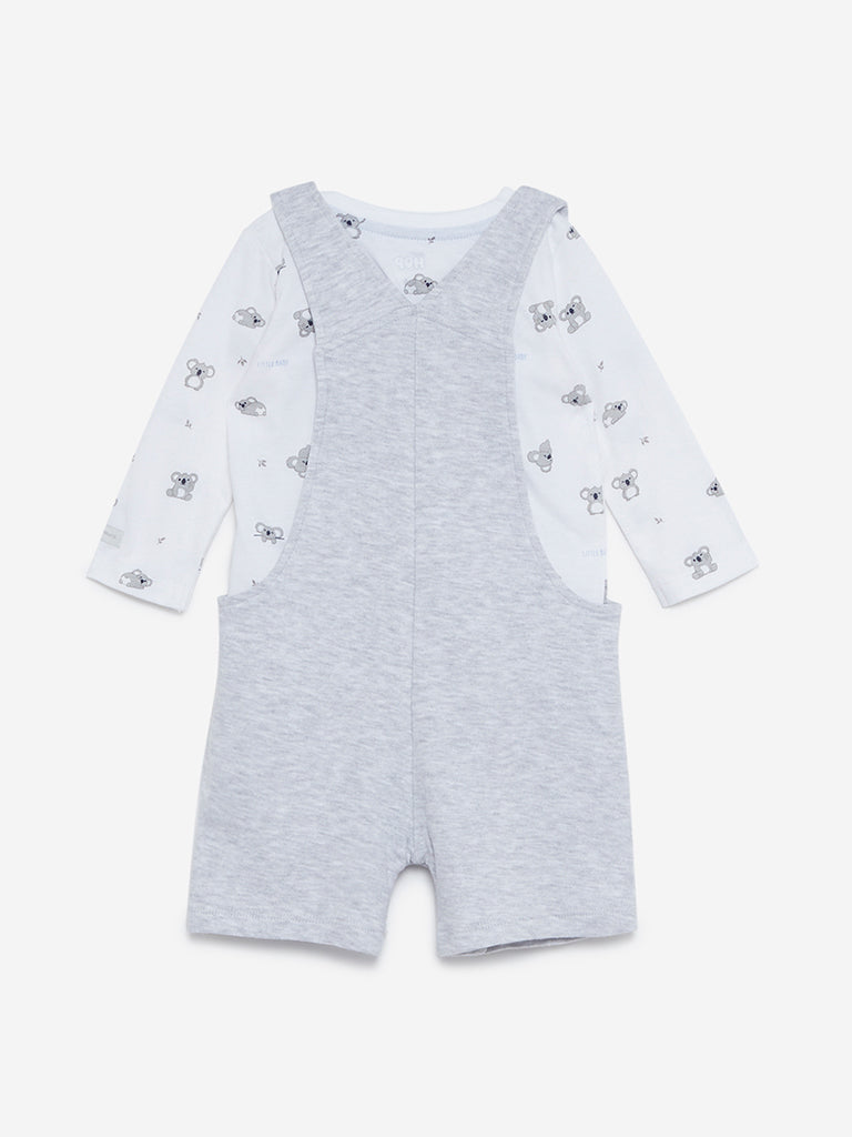 Baby HOP Grey Melange T-Shirt And Dungarees Set