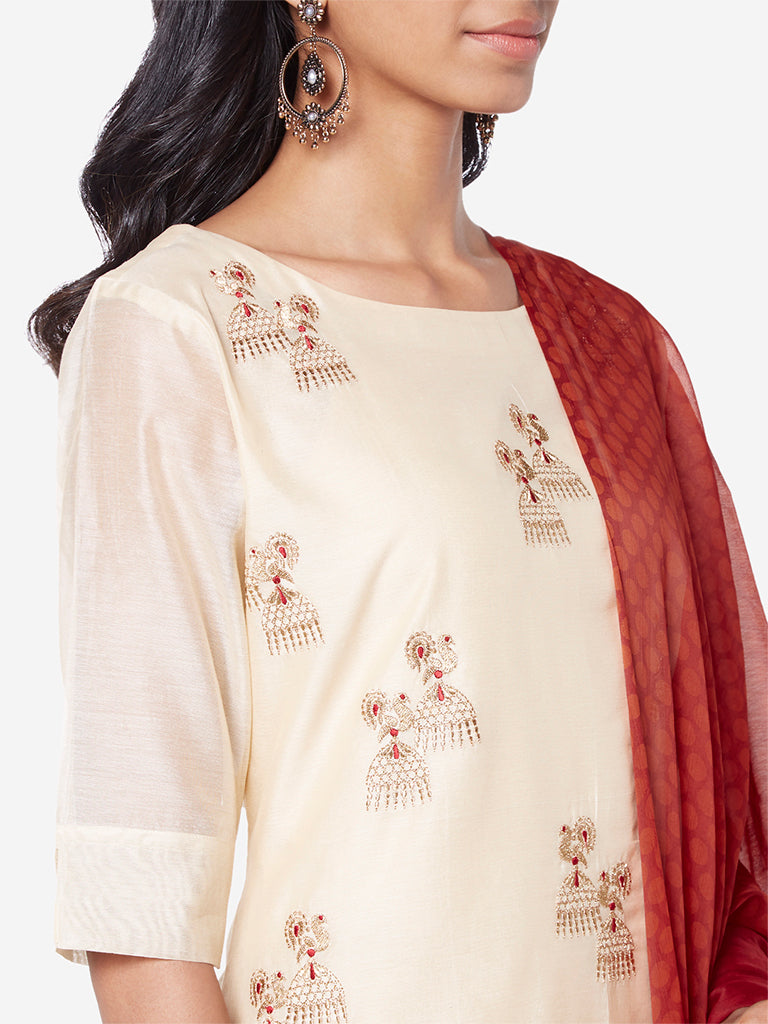 Vark Beige Straight Kurta And Palazzos Set