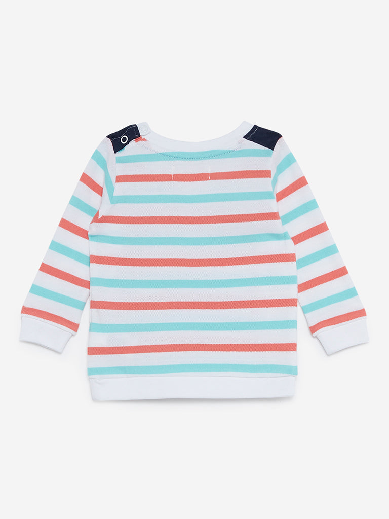 Baby HOP White Striped Pure Cotton T-Shirt