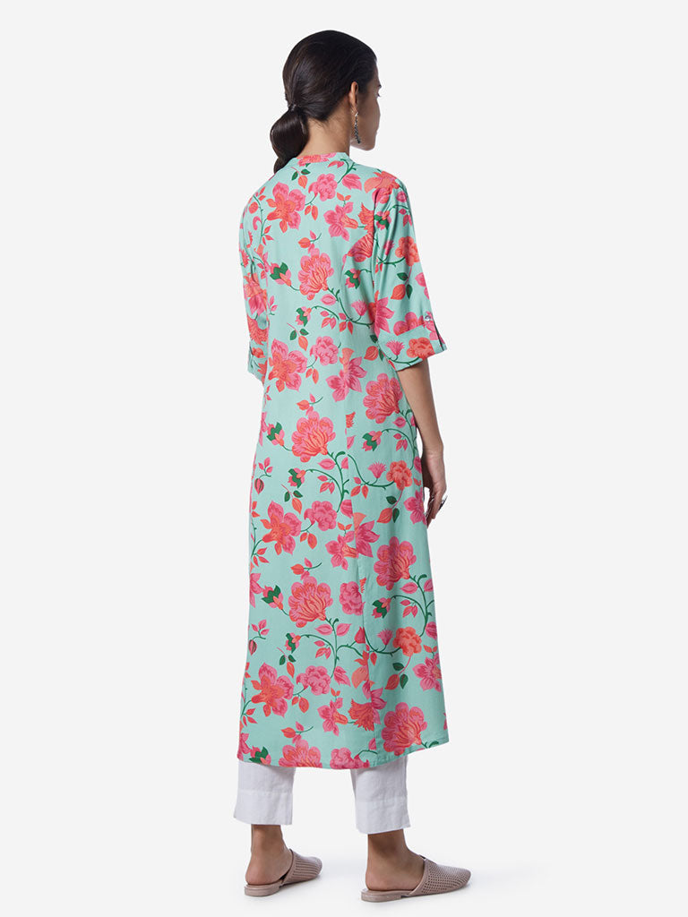 Utsa Multicoloured Floral Patterned A-line Kurta