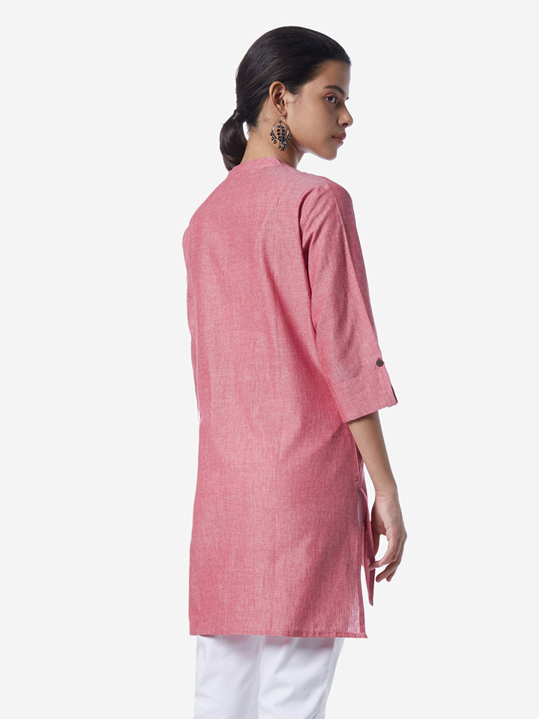 Utsa Pink Embroidered High-Low Kurti