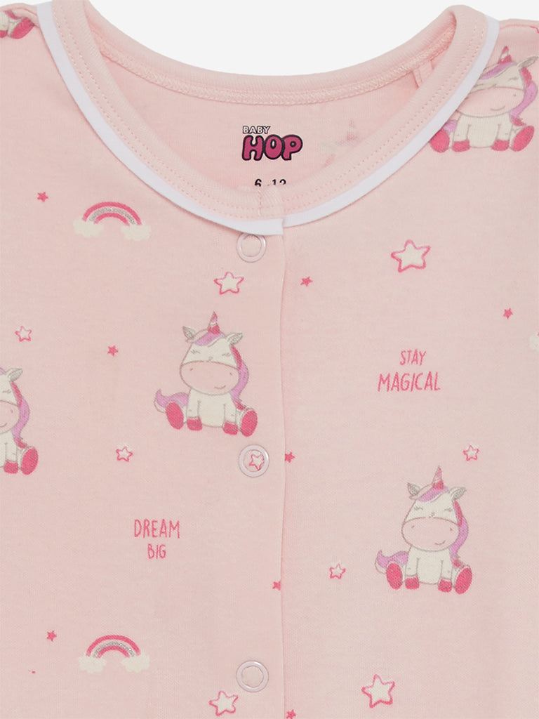 Baby HOP Pink Unicorn Print Sleep Suit
