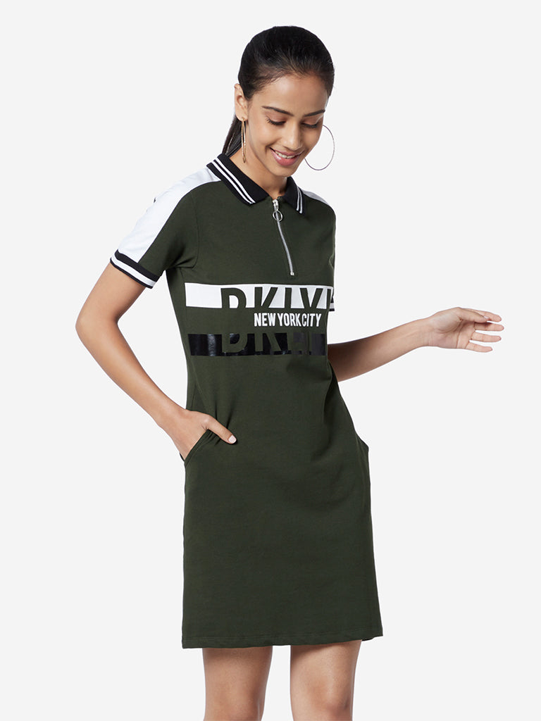 Studiofit Olive Text Pattern T-Shirt Dress