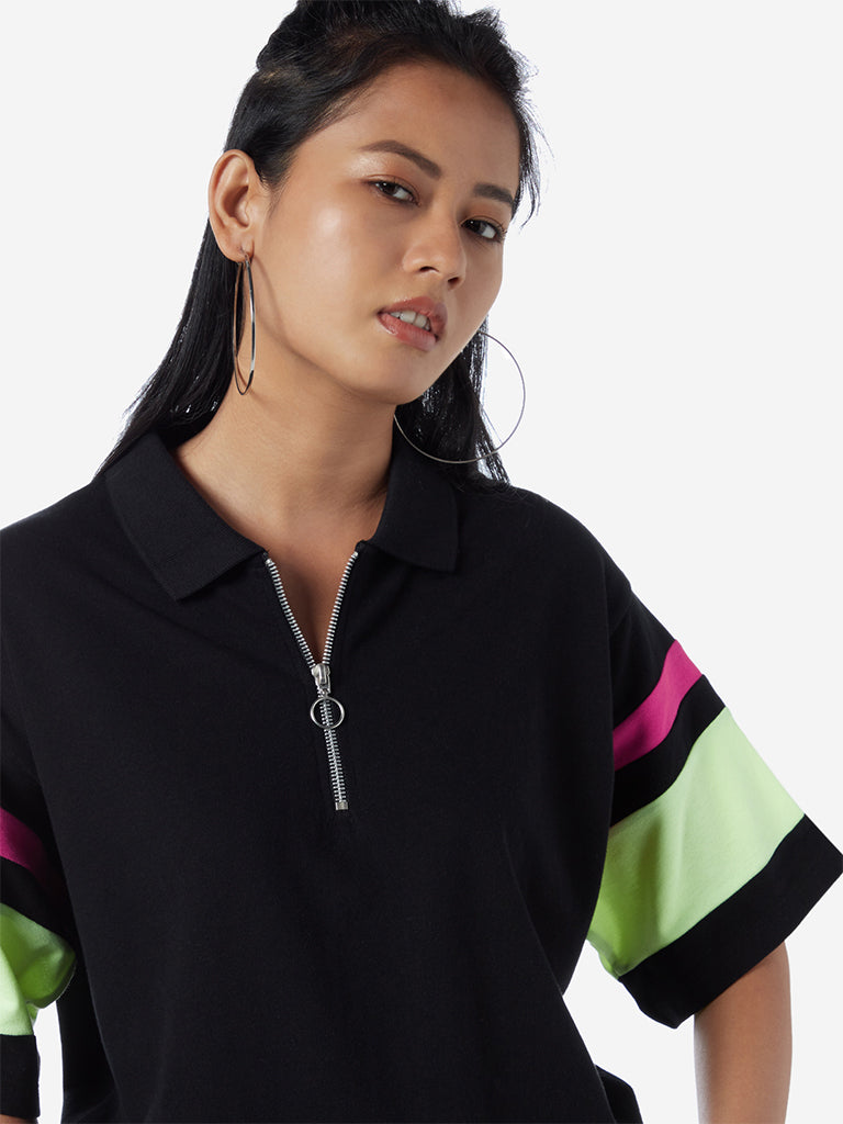 Studiofit Black Polo T-Shirt