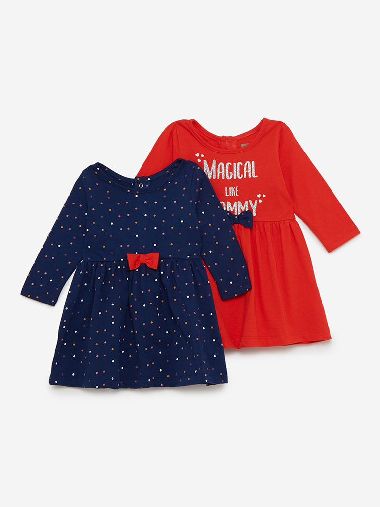 Baby HOP Red And Navy Dress Set of Two