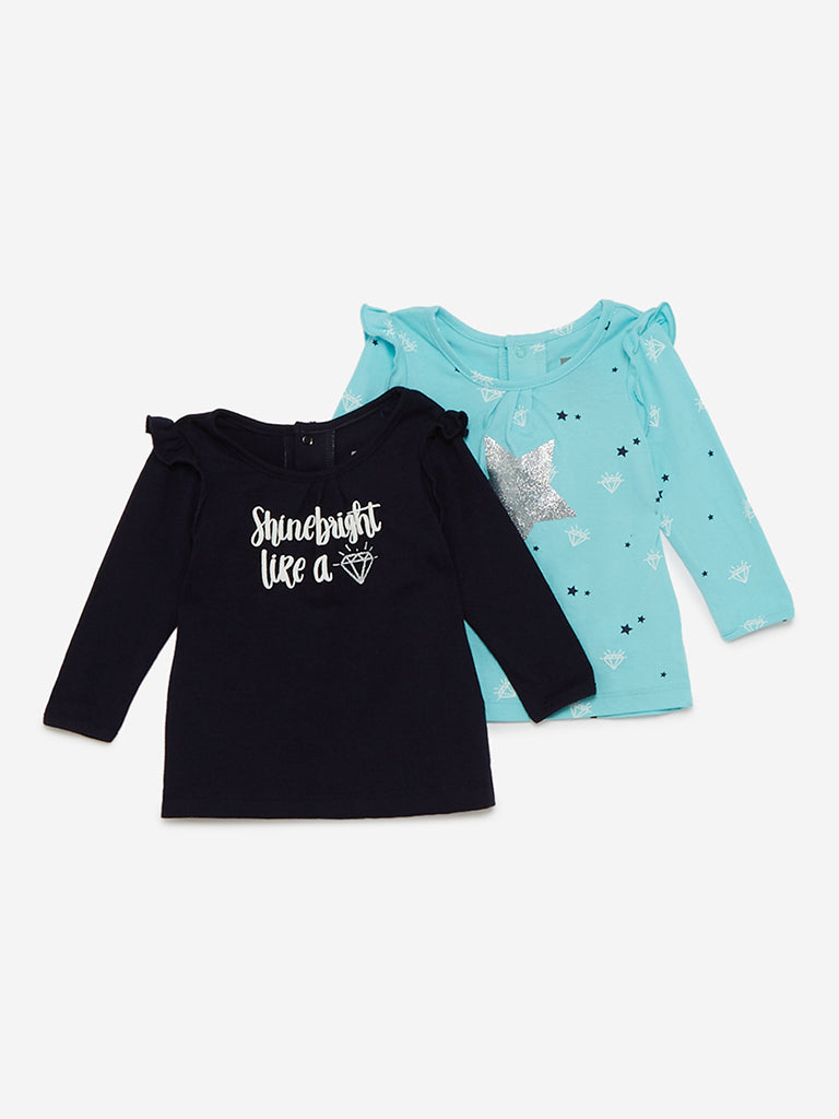 Baby HOP Aqua And Navy Diamond T-Shirt Set of Two