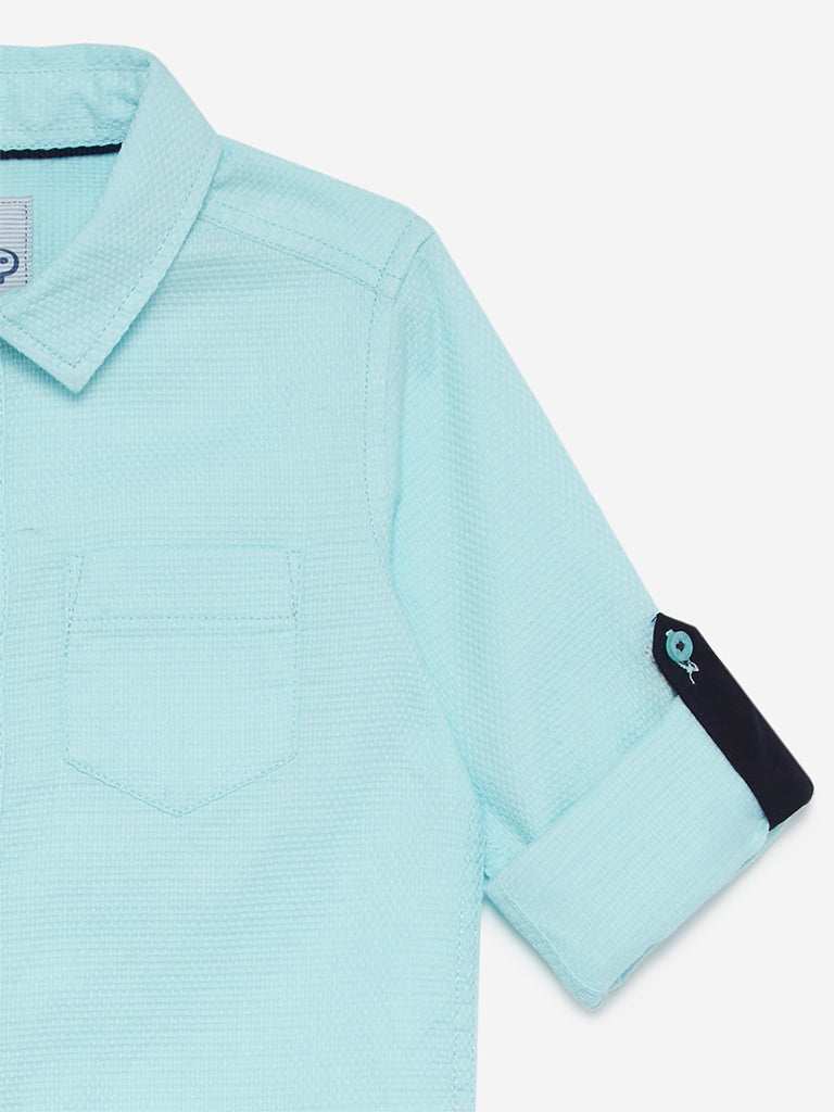HOP Kids Mint Self-Textured Polo Shirt