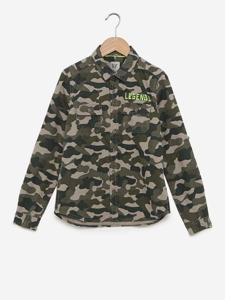 Y&F Kids Olive Camouflage Printed Shirt