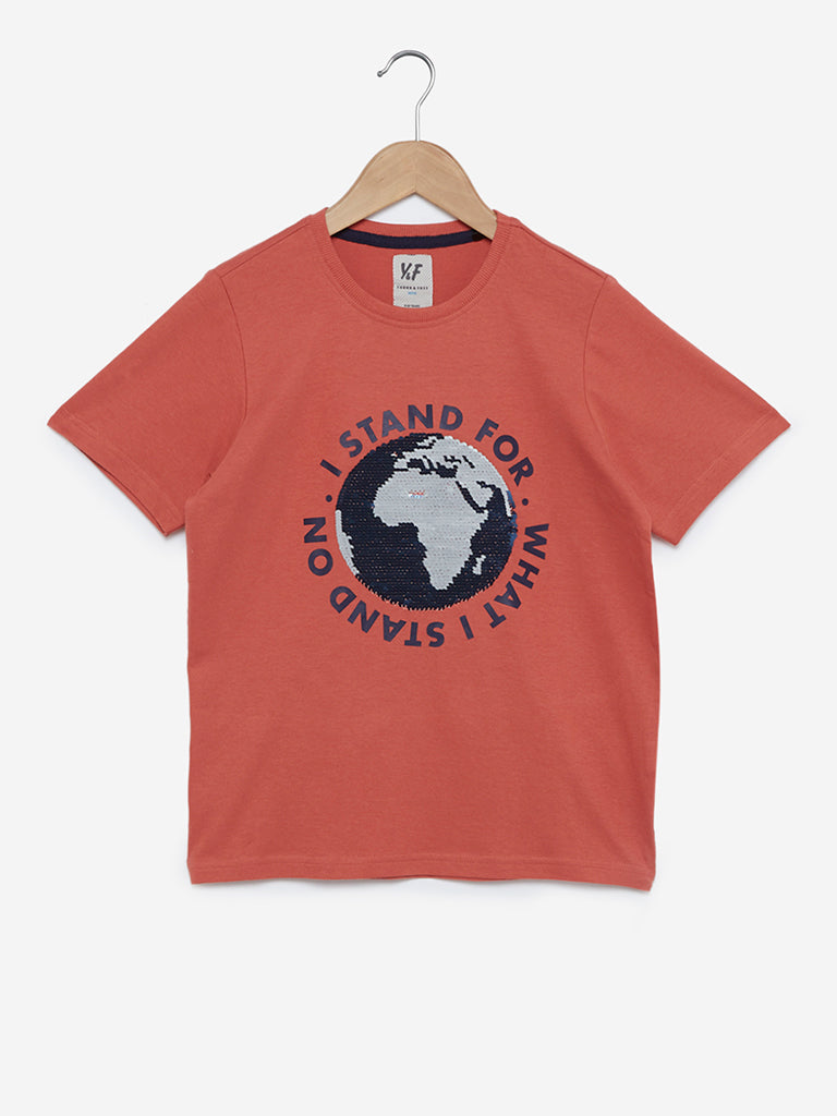 Y&F Kids Light Rust Sequinned T-Shirt