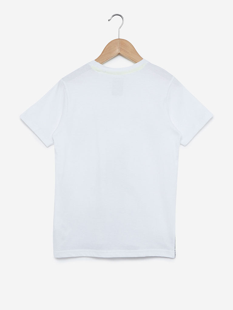 Y&F Kids White Skateboard Crewneck T-Shirt