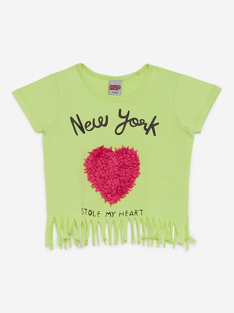 HOP Kids Lime Green Heart Applique T-Shirt