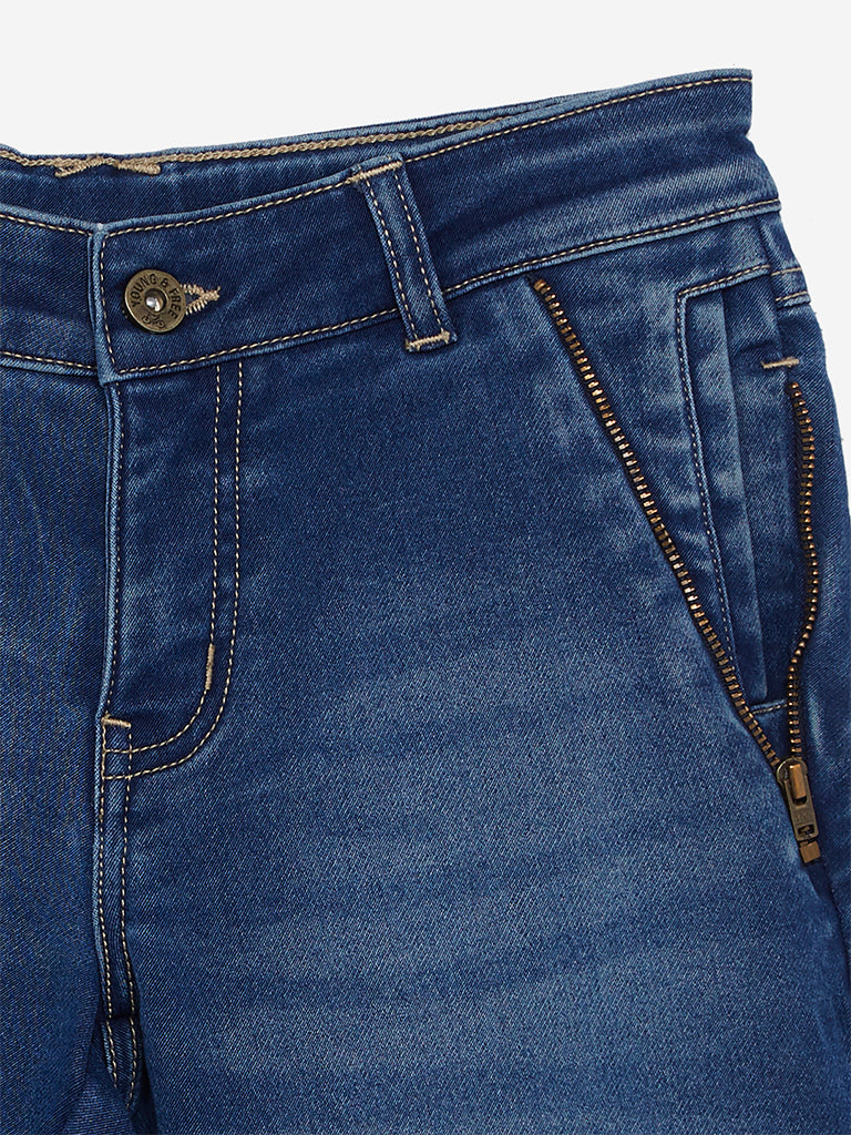 Y&F Kids Blue Zippered Wayne Shorts