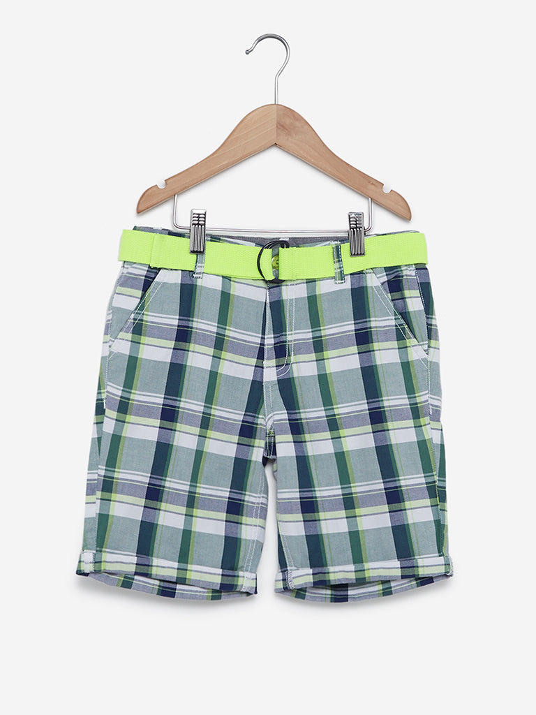 Y&F Kids Multicolour Checked Shorts With Belt