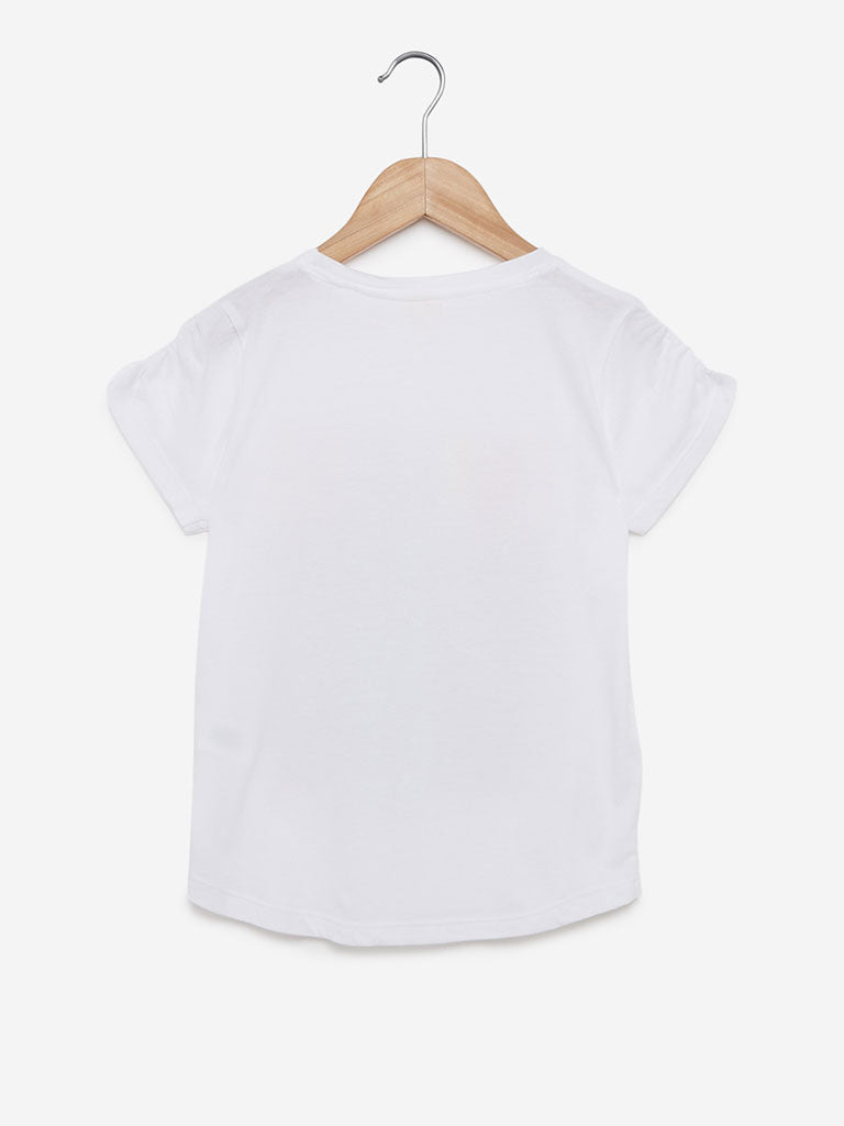 Y&F Kids White Endless Crewneck T-Shirt