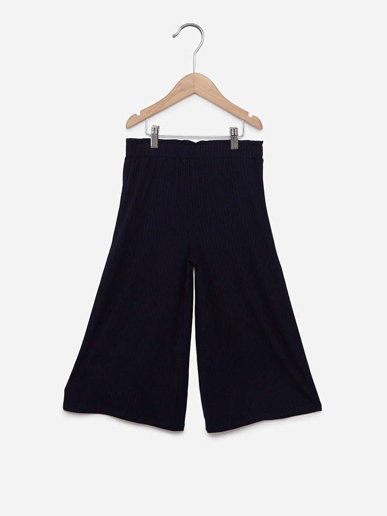 Y&F Kids Navy Ribbed Wide Palazzos