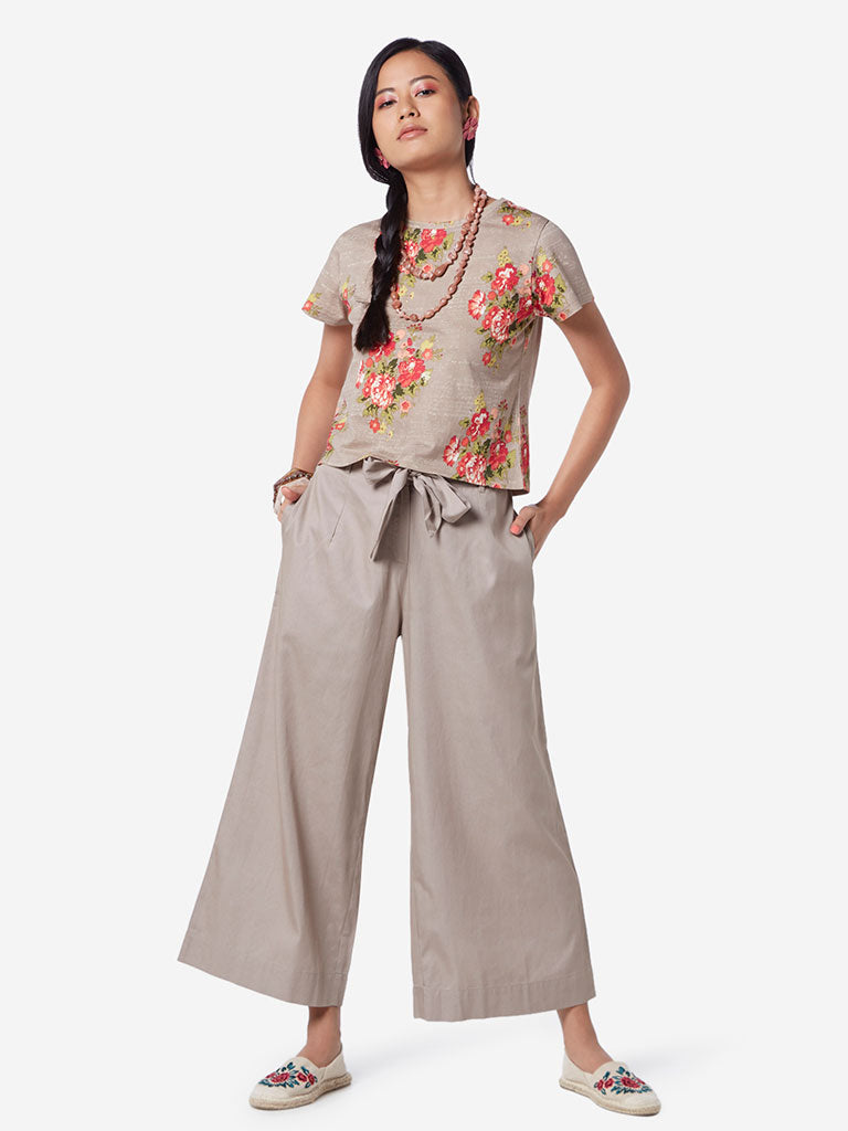 Bombay Paisley Taupe Palazzos With Belt