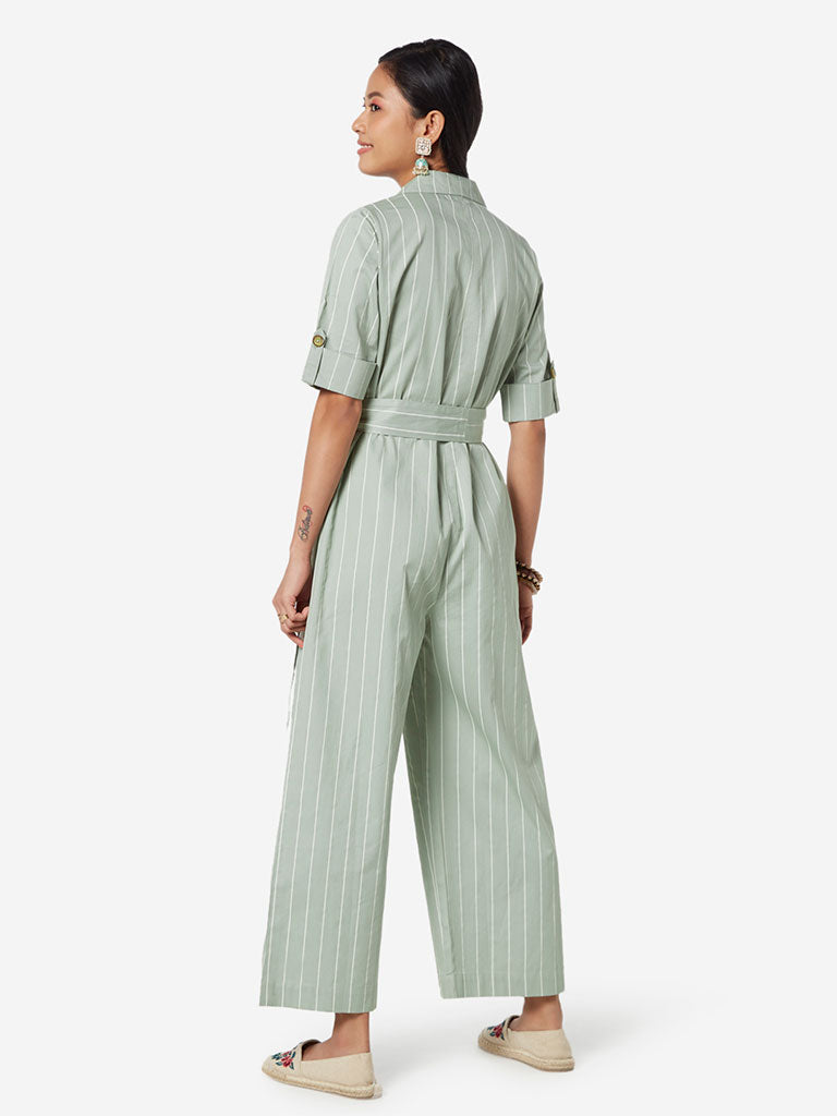 Bombay Paisley Mint Striped Jumpsuit With Belt