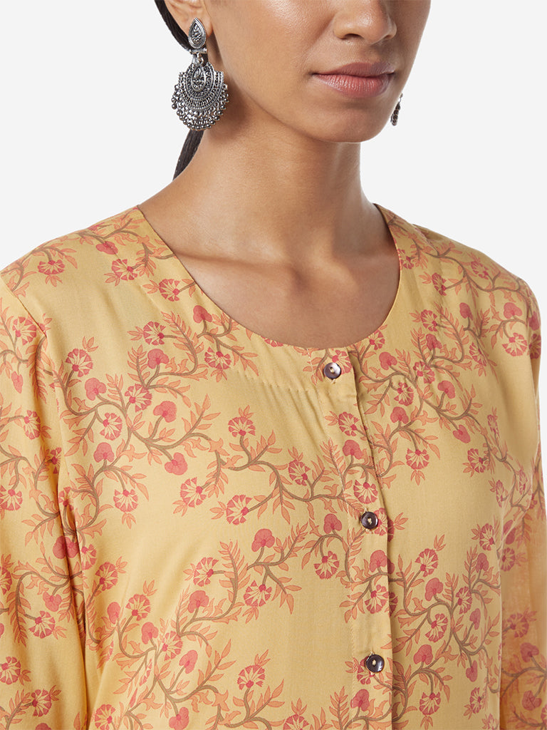 Zuba Yellow Floral Patterned A-line Kurta
