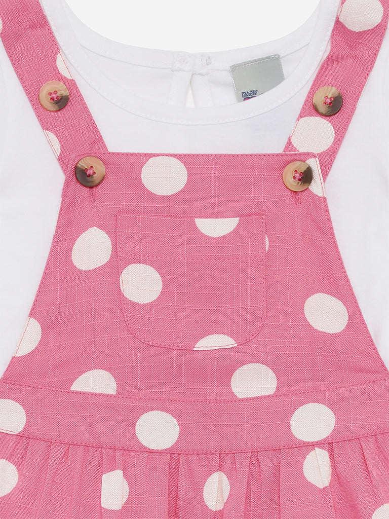 Baby HOP Pink Dotted Pinafore And T-Shirt Set