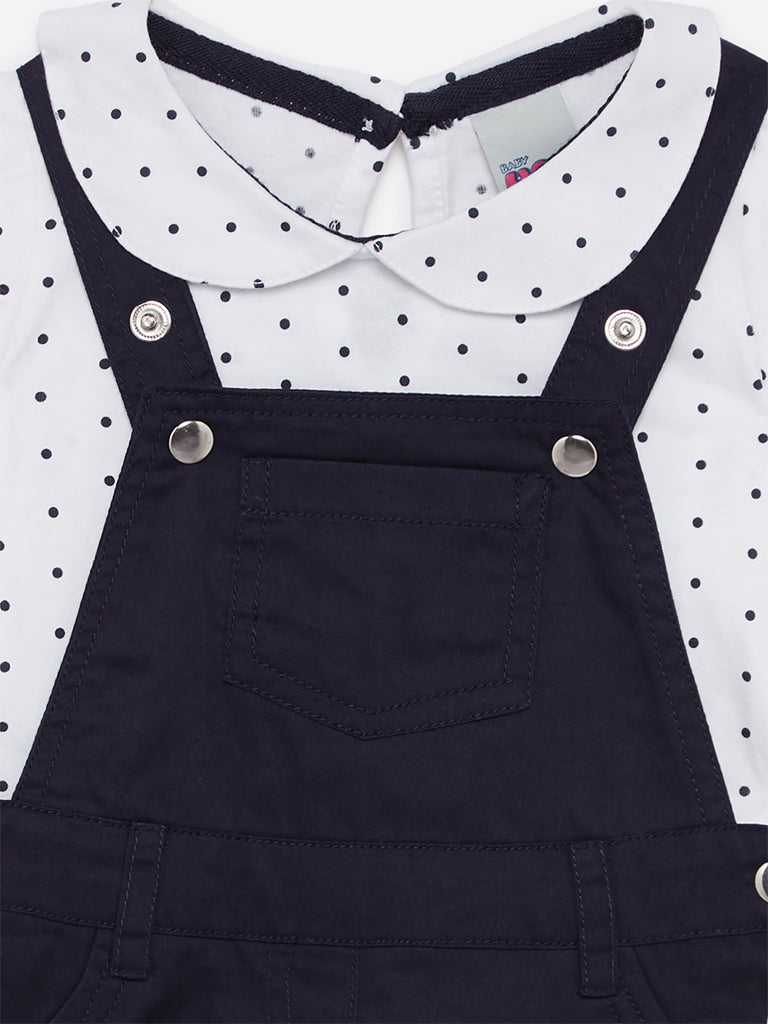 Baby HOP Navy Dotted T-Shirt And Pinafore Set
