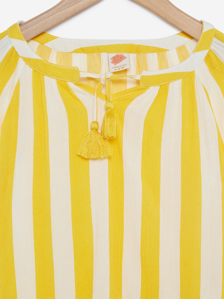Y&F Kids White Striped Alberta Top