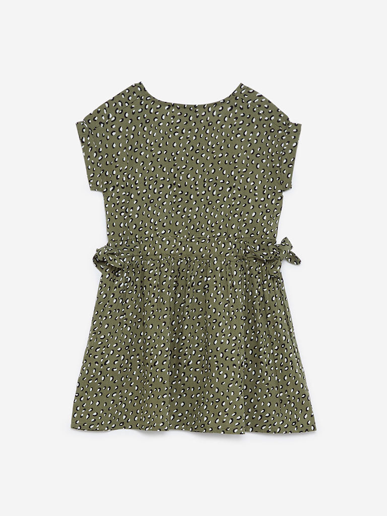 HOP Kids Olive Printed Fit-And-Flare Dress