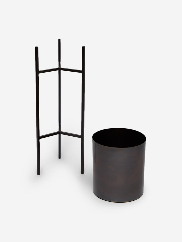 Westside Home Dark-Brown Small Planter with Stand