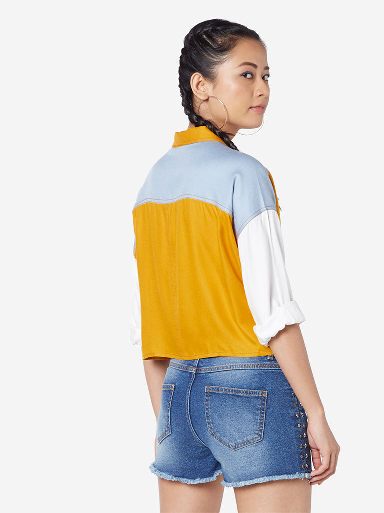 Nuon Mustard Christopher Colour-Block Shirt