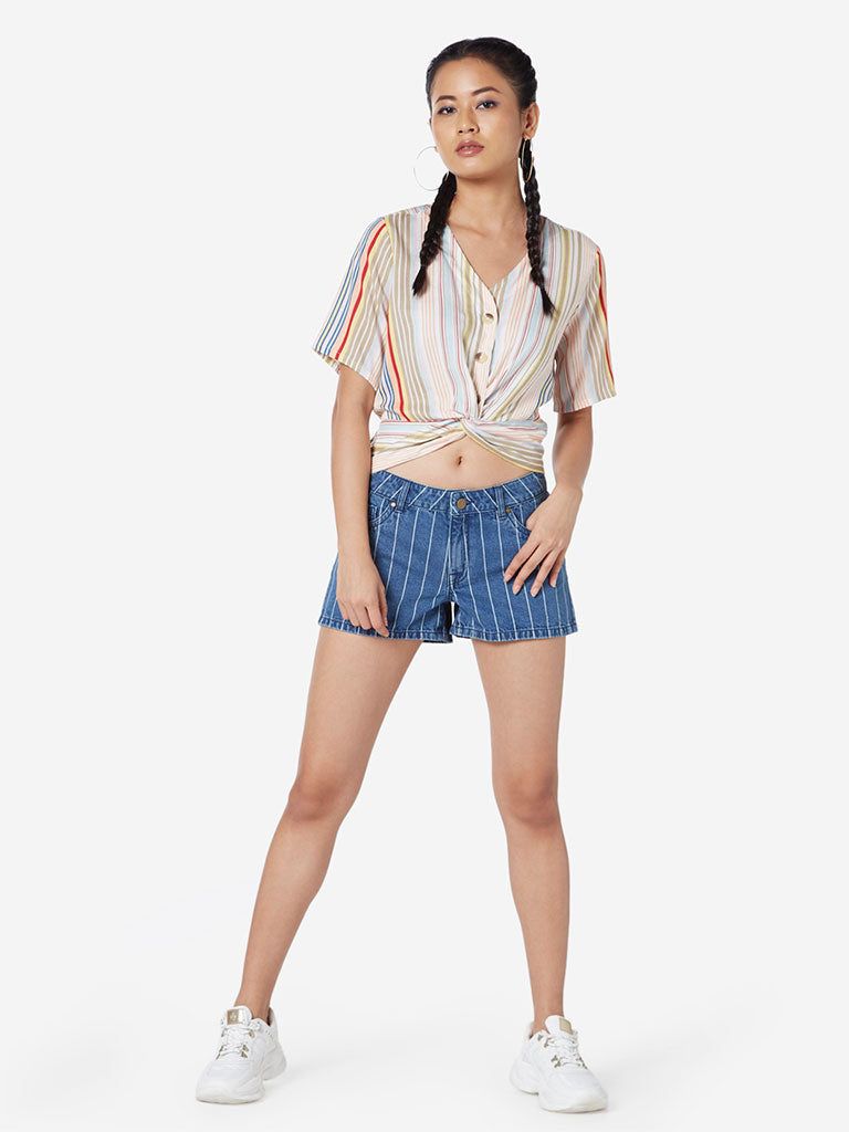 Nuon Multicolour Striped Twist Crop-Top