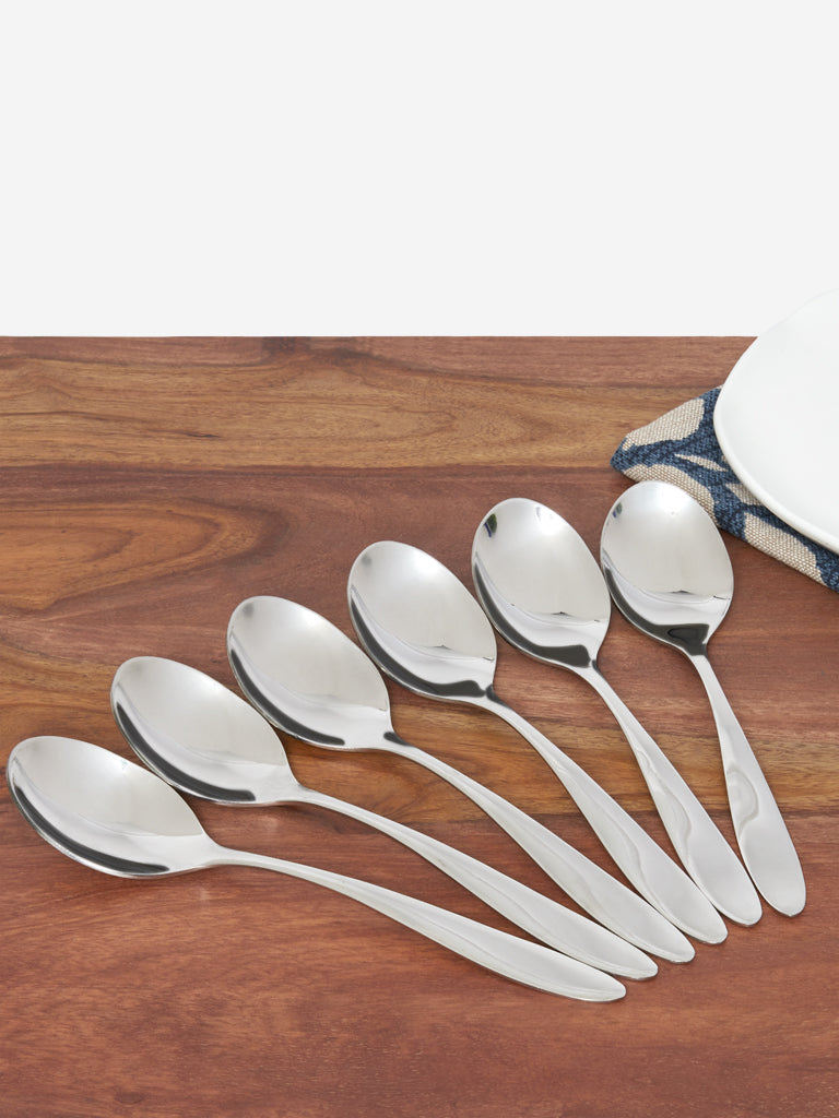 Westside Home Silver Steel Table Spoons Set of Six