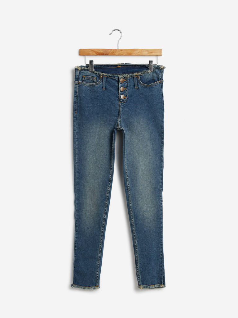 Nuon Blue Frayed Design Jeans