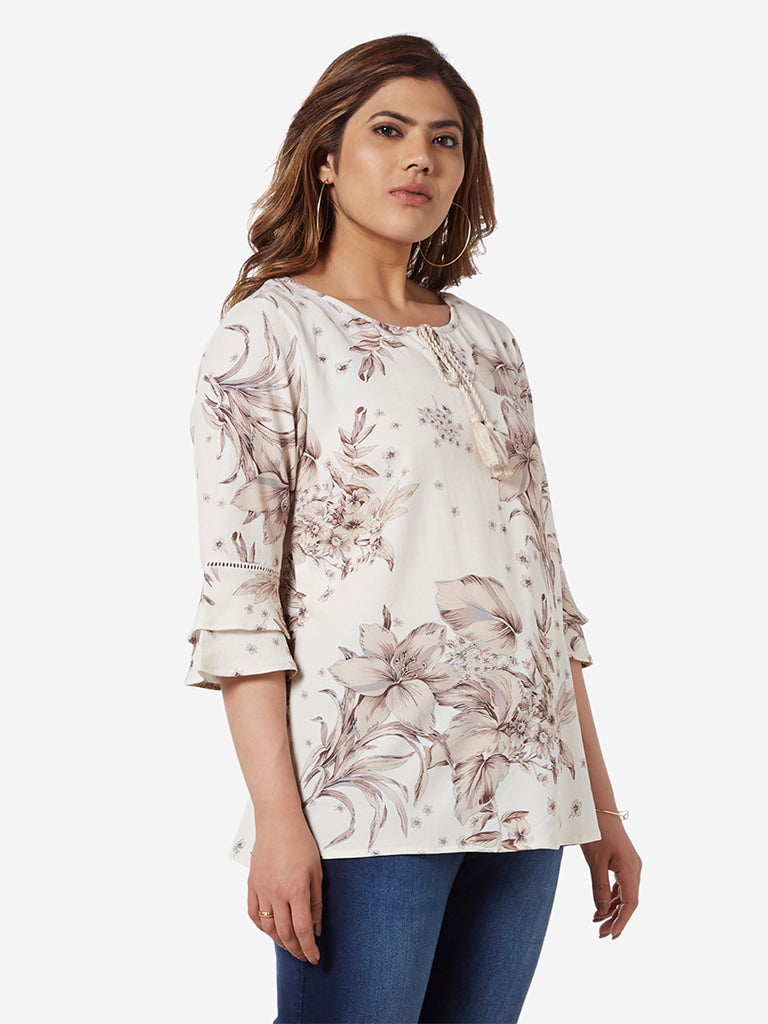 Gia Curve Beige Floral Patterned Top