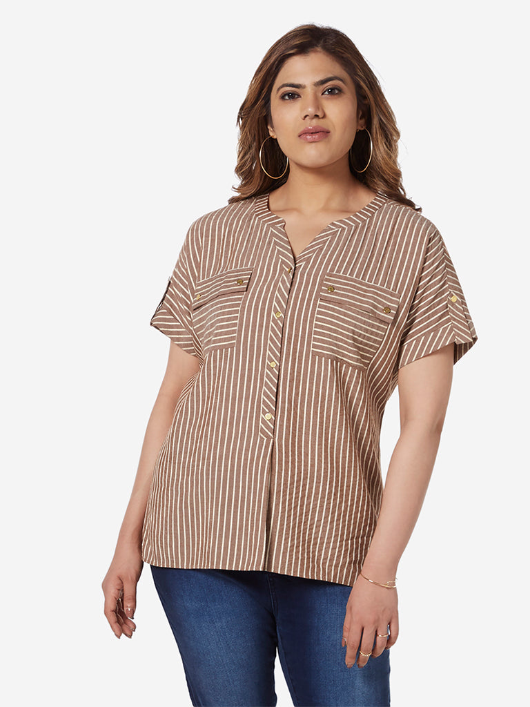 Gia Curve Brown Striped High-Low Ray Top