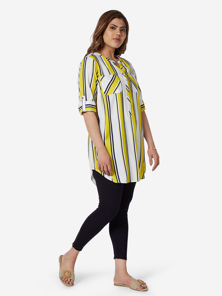 Gia Curve White Striped High-Low Oasis Tunic