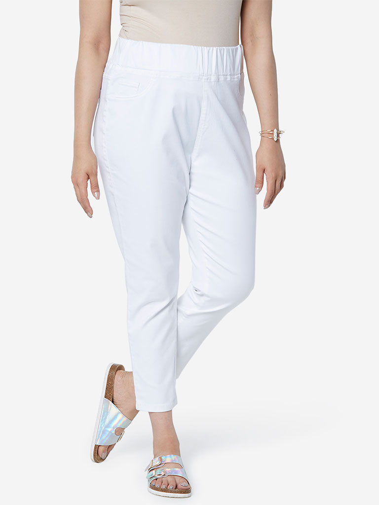 Gia Curve White Cropped Jeggings
