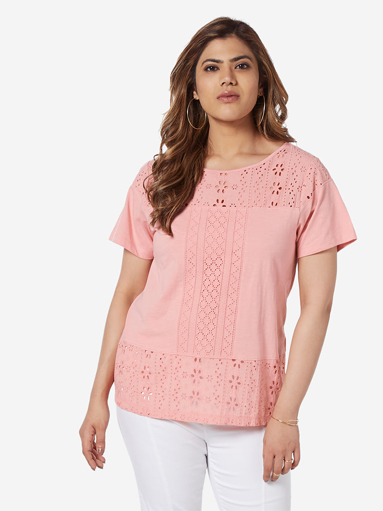 Gia Curve Pink Cut-Out Detailed Mike Top