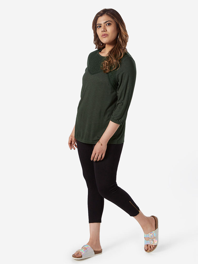 Gia Curve Olive Cut-Out Detailed Jinx Top