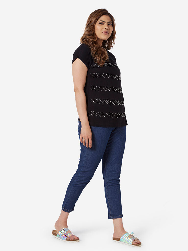 Gia Curve Black Stud-Detailed Bella T-Shirt