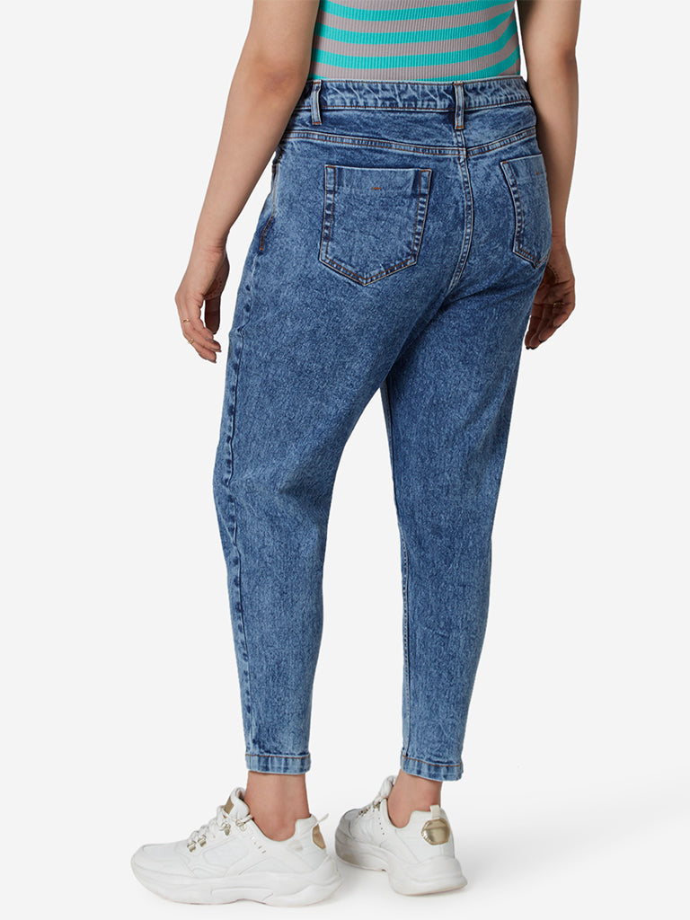 Sassy Soda Curve Blue Distressed Crop Jeans