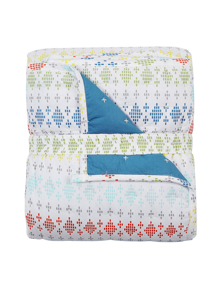 Westside Home Multicolour Quilted Single Bedcover With One Pillowcase Set