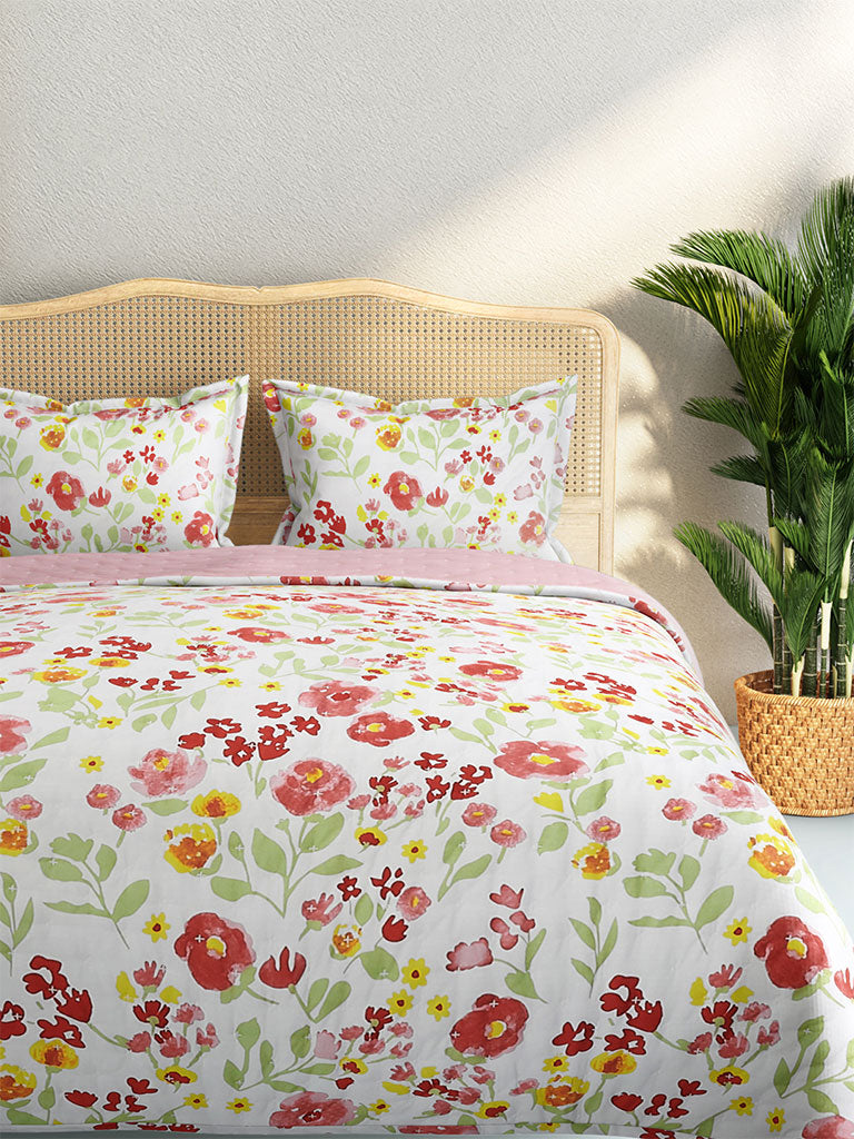 Westside Home Multicolour Quilted Floral Double Bedcover With Two Pillowcases Set