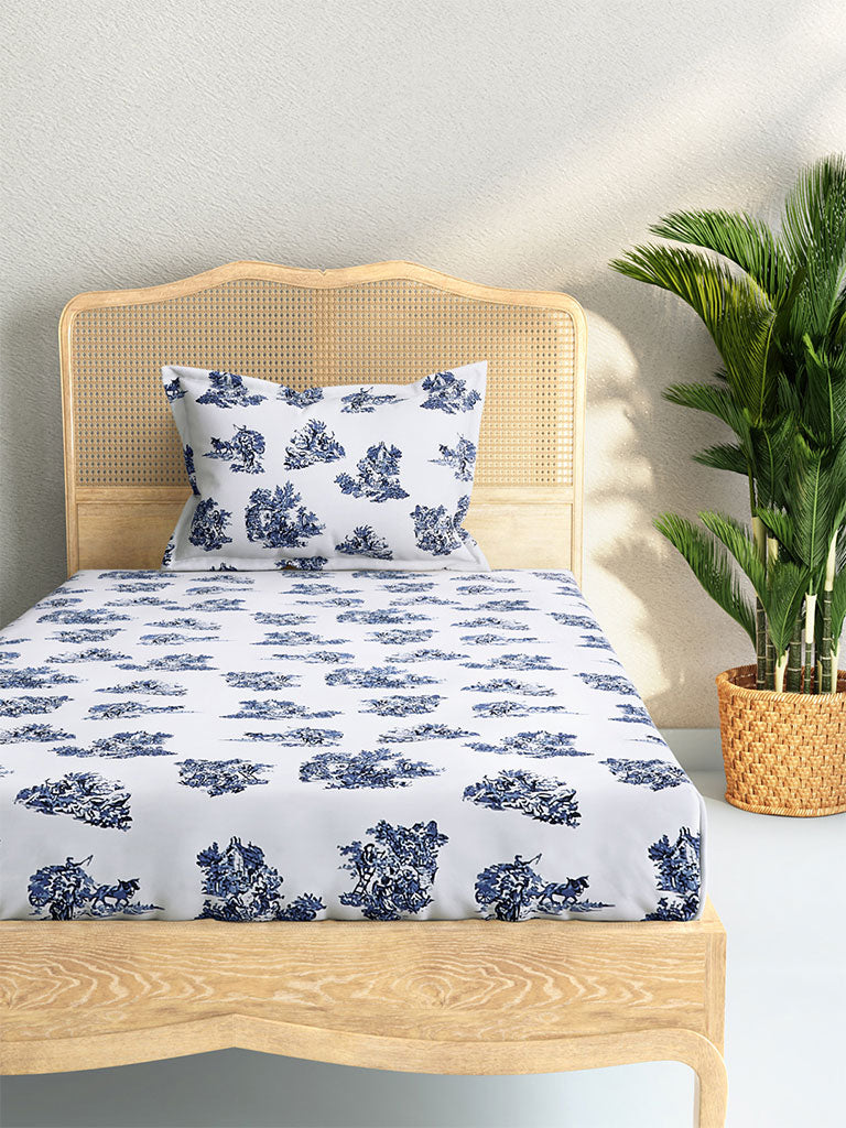 Westside Home Blue Floral 210 TC Sateen Single Bedsheet With One Pillowcase Set