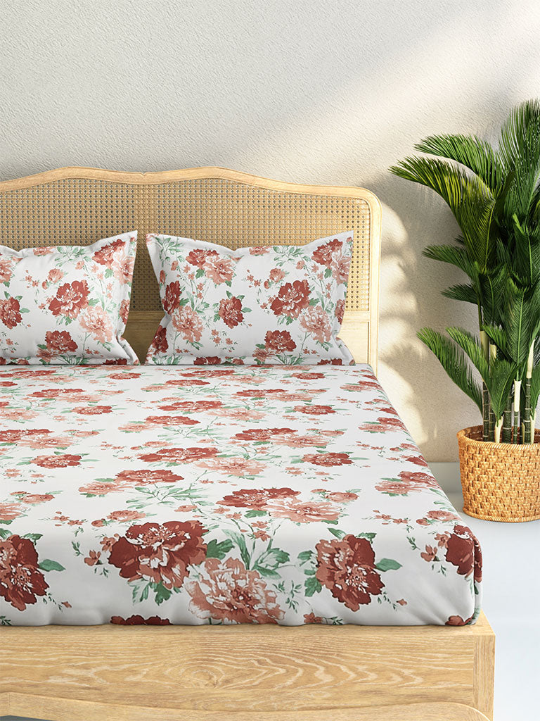 Westside Home Multicolour Floral 210 TC Sateen King Bedsheet With Two Pillowcases Set