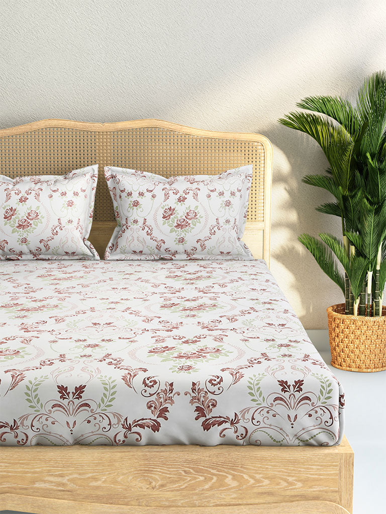 Westside Home Multicolour 210 TC Sateen Double Bedsheet With Two Pillowcases Set