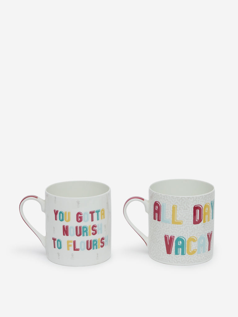 Westside Home Multicolour Text Design Mugs Set Of Two