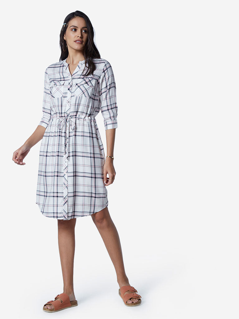 LOV White Checkered Amina Dress