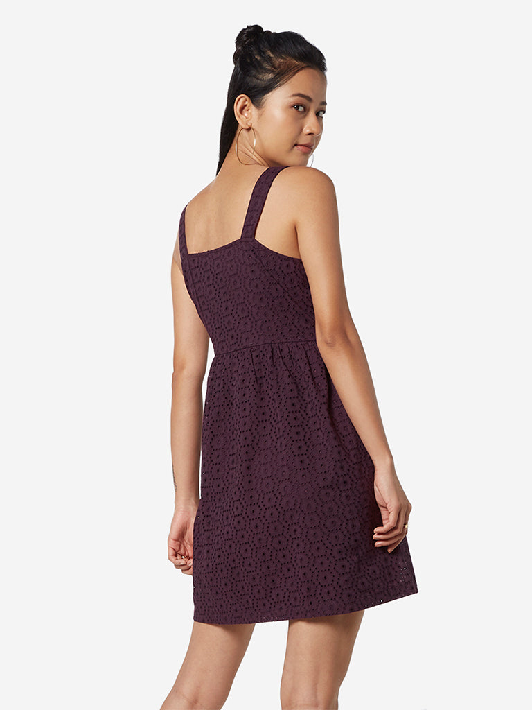 Nuon Berry Cut-Out Pattern Poovi Dress